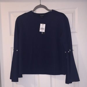 NWT Blue blouse with pearl detailing on sleeves